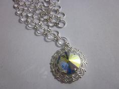 Swarovski crystal AB  Rivoli Necklace by FaithHopeInspire on Etsy, $35.00