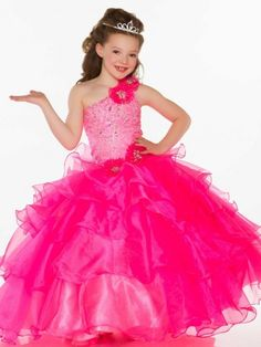 Wishesbridal Organza Girls Pageant Dress With Beading