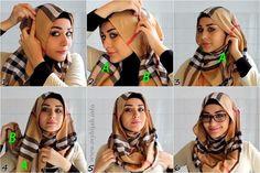 How To Wear With Glasses – 6 Easy Steps tutorials in 6 styles hijab tutorial 2018 - Hijab How To Wear Hijab, Hijab Wear, Hijab Dress, Hijab Outfit, Turban Hijab, Hijab Mode Inspiration, Hijab Fashionista, Islamic Fashion, Muslim Fashion