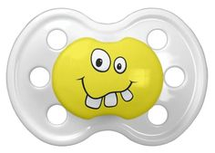 Funny goofy yellow cartoon smiley face big teeth pacifier. Cute and fun custom pacifier featuring a yellow smiley cartoon face with big goofy teeth. Available in other colors and with other expressions. Makes cute baby shower gifts.