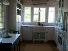tiny farmhouse kitchen | Cottage kitchen, dishwasher, farm house sink, windows