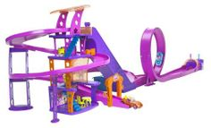 Polly Pocket Pollywheels Race to the Mall by Mattel. $37.99. Girls place Polly and Lila in the two cars at the gate, push the button and race. Or simply push on the car for continuous cruising, up the elevator and around the town. Polly and her friend can race through the big city and win the flag at the finish line. Or they can dine, shop and stop for the view at the high observation deck. What fun for ages 4 and up!. Amazon.com                Wanna go to the mall? I'l...