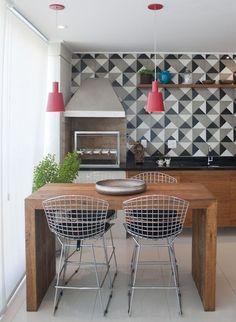 varanda gourmet com azulejo de demolição