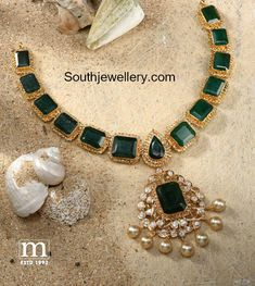 22 Carat gold antique necklace adorned with square shaped emeralds, uncut diamonds and south sea pearls by Mahalaxmi jewellers & pearls. Emerald Necklace, Emerald Jewelry, Gold Necklace, Short Necklace, Diamond Jewelry, Peacock Jewelry, Quartz Jewelry, Green Necklace, Jewelry Design Earrings