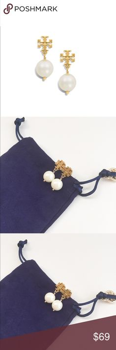 New Tory Burch pearl drop earrings New and never used. Come with the original Tory Burch dust bag. Super cute!!! It's  a timeless pair that also makes a great gift. Made for pierced ears.                                                                   ❌no trade ❌no lowballing offers!!! Tory Burch Jewelry Earrings