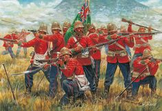 Last stand at Isandlwana - G.Rava The odd thing about this painting is that at bottom left there is a sword apparently held by a disembodied hand - either that, or the chap firing a pistol left-handed has a very long right arm!