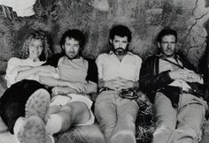 A vintage photo of Kate Capshaw, Steven Spielberg, George Lucas and Harrison Ford on the set of Indiana Jones and the Temple of Doom.