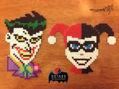 From Batman: The Animated Series, Mad Love: The Joker and Harley Quinn - Perler Bead Creations by RockerDragonfly