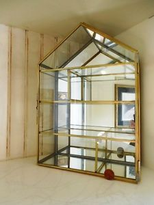 Vintage Glass U0026 Brass Mirrored Curio Display Case Cabinet For Miniatures