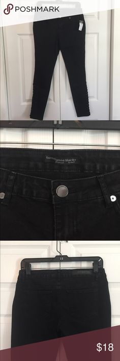 "NWT Black Skinny Jeans twentyone black by RUE 21.  5 pocket low rise jegging flex with tapered skinny leg and 11 inch lace up detail.  Size 9/10.  Never worn, tags attached.  28.5"" inseam, 8"" rise, waist 15"" across. Rue 21 Jeans Skinny"