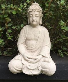 Large 50 cm Ancient Sitting Buddha Indoor Outdoor Statue Ornament Garden Synthetic Resin