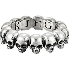 Two heads are better than one, and the more the merrier!  Don't put your neck on the line, just chop down eerie excitement with the wicked warning of the King Baby Studio Skull Infinity Ring.   #KingBabyStudio #ZapposCouture