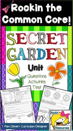 Secret Garden by Frances Hudgson Burnett. Aligned to COMMON CORE with oodles of reading skills! It will help your students have a better understanding of the text as well as a deeper connection to the characters. Included in this Secret Garden resource: Chapter questions and DIFFERENT response formats for EVERY chapter! I put these pages together into a student notebook. Secret Garden vocabulary quiz and unit test based around Bloom's Taxonomy. TPT Resource