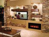 Offset shelves, fireplace and tv with stone wall.  Similar to what we want to do!