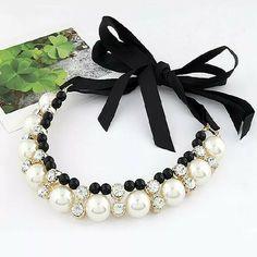 ALLACKI Artificial Pearl Dog Collar Pet Cat Dog Necklace Bling Neck Strap #ALLACKI
