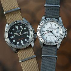 A couple of steel bezel besties #seiko #rolex #diver #expii #16570 #explorerii #skx #yobokies #watches #womw