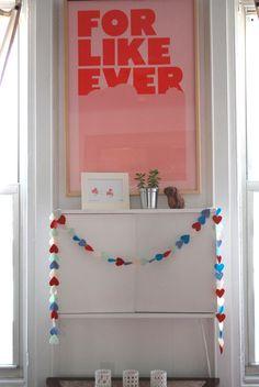 valentine's day heart garland by wiksten made Valentines Day Hearts, Valentine Crafts, Be My Valentine, Happy Hearts Day, Crafts For Kids, Diy Crafts, Heart Garland, Heart Day, Inspiration For Kids