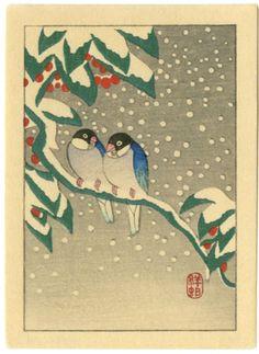 Koson Japanese Woodblock Print Snowbirds | eBay