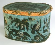 c. 1820 hat box. i made one years ago because of the photo/article in early american life magazine. I still love it.