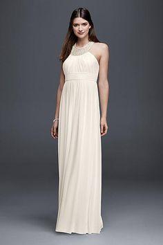Chiffon Halter Neck Sheath Wedding Dress 183624DB