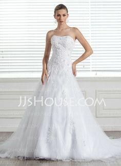 Wedding Dresses - $219.99 - A-Line/Princess Sweetheart Chapel Train Satin  Tulle Wedding Dresses With Lace  Beadwork (002004771) http://jjshouse.com/A-line-Princess-Sweetheart-Chapel-Train-Satin-Tulle-Wedding-Dresses-With-Lace-Beadwork-002004771-g4771