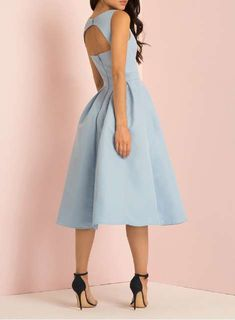 *Chi Chi London Blue Plunge Open Back Skater Dress - View All Clothing - Clothing - Dorothy Perkins