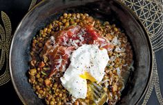Party Recipes at PointClickHome.com – Truffled Lentils with Poached Egg and Pata Negra Ham Recipe - ELLE DECOR