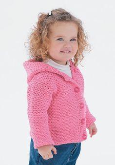 Follow this free crochet pattern to create a hoodie using Bernat Cottontots yarn.