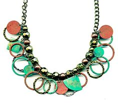 Brass and Copper Green Patina Disc Circles 16 to 19 Inches Necklace Handmade JB