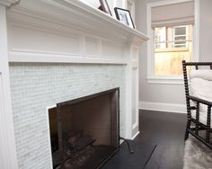 glass subway tile surround for the fireplace
