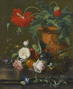 JAN VAN HUYSUM | A STILL LIFE OF POPPIES IN A TERRACOTTA VASE, ROSES, A CARNATION AND OTHER FLOWERS WITH A BIRD'S NEST ON A MARBLE LEDGE