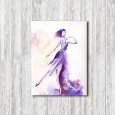 Original Wateroclor Painting, Ballerna Modern Painting, Purple Painting, Watercolour Art