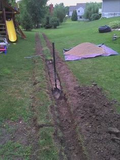 Solve Yard Drainage Issues-Drain Tile Install Bild von Rent a Trencher-Totally Worth It Backyard Drainage, Landscape Drainage, Drainage Ditch, Backyard Projects, Outdoor Projects, Backyard Ideas, Walkway Ideas, Patio Ideas, Garden Ideas