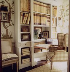 Creamy parchment room with mural wall pattern--so charming--Alidad Interiors