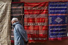Carpets for sale in the souk, Marrakech (Marrakesh), Morocco, North Africa, Africa