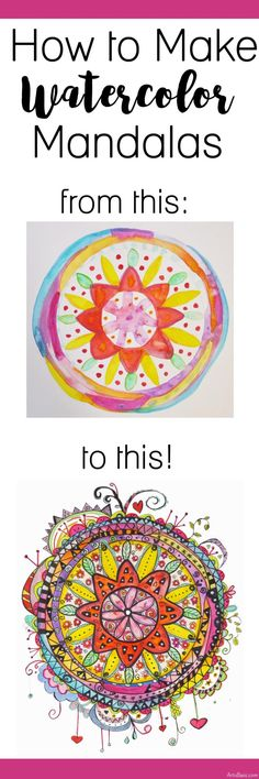 How to Make a Watercolor Mandala (Art is Basic) Watercolor Mandala, Mandalas Painting, Mandalas Drawing, Zentangles, Watercolor Art, Watercolor Tutorials, Middle School Art, Art School, High School