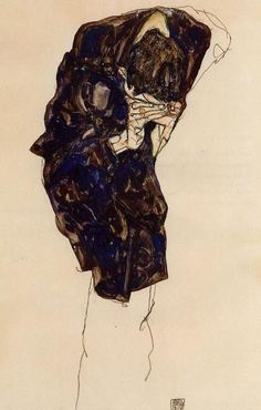 artist-schiele:Man Bencind Down Deeply 1914 Egon Schiele