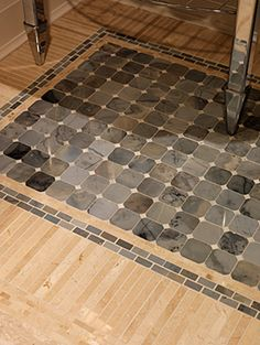 this is a Sara Richardson project basement powder room floor Great tile detail for small spaces.