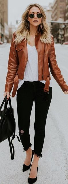 #winter #outfits brown leather jacket, black jeans, and pair of black flats outfit