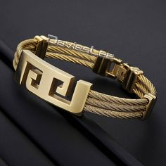 Fashion Gift 3 Strands Cut-out Cross Greek Pattern Gold Tone Stainless Steel Bracelet Mens Bracelet ID Bangle Fashion DLKG152