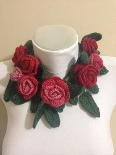 Crocheted Rose ScarfCrocheted ScarfScarvesRed by Yellowcrochet