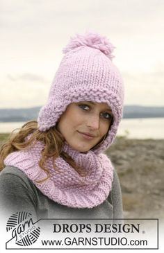 """Belle Marie - Set comprising: Neck warmer in moss st with rib in 1 thread """"Eskimo"""" or 1 thread """"Polaris"""" and DROPS hat in 2 threads """"Eskimo"""" or 1 thread """"Polaris"""". - Free pattern by DROPS Design Knitting Designs, Knitting Patterns Free, Free Knitting, Baby Knitting, Crochet Patterns, Free Pattern, Drops Design, Knit Crochet, Crochet Hats"""