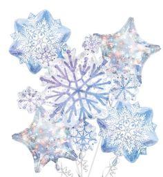 Foil Snowflake Balloon Bouquet 5pc - Party City