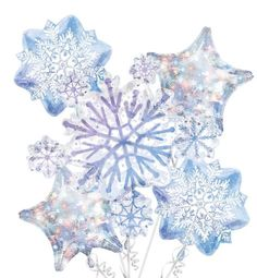 Snowflake Balloon Bouquet 5pc - Party City