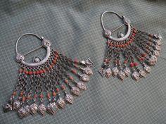 Uzbekistan | Earrings; silver and coral | ©Tribal Heritage, via Ethnic Jewels