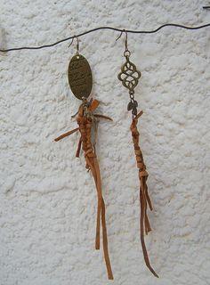 Dangle Earrings, Asymmetrical Earrings, mixed media, OOAK