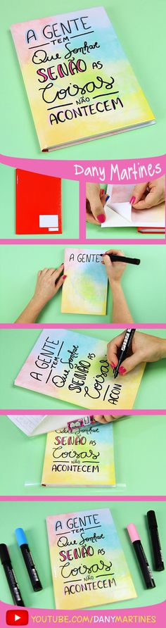 Faça você mesmo uma linda capa de caderno de com aquarela e frase, volta às aulas, DIY, do it yourself, Back to school, regreso a clases, Notebook