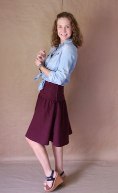 Palindrome Dry Goods: Handmade High Waisted Yoked Skirt in Plum Linen - Altered Version of Simplicity 1607