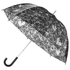 Impliva Transparent Walking Birdcage Umbrella, Black