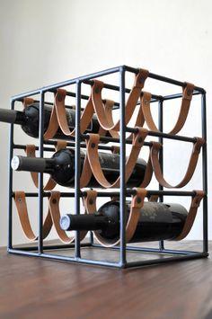 Arthur Umanoff for Raymor 9 Bottle Iron & Leather Wine Rack/Mid Century Modern Wine Holder/Iron and Leather Industrial Wine Rack